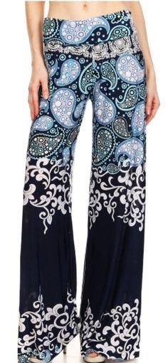 03887babedb New Fashion Floral Casual Wide Long Pants High Waist Trousers Boho Bohemia  Plus Size Woman Wide Leg Pants