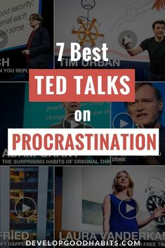 Watch the 7 best TED talks on procrastination and learn how to stop struggling to get things done. | Tips to stop procrastination and increase productivity | #productivitytips #procrastination #entrepreneurs #productivity #purpose #business #career #tips #planning #TED #tedtalks #tedbusiness