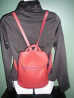 Red-AUTHENTIC-LONGCHAMP-Womens-Leather-Backpack-Purse-ECFO27118-GUC