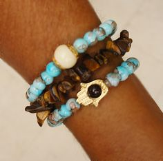Boho hamsa stretch bracelet, set of 3