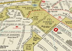 The UK-based design firm Dorothy created a vintage-y litho print map of Los Angeles that features film titles. Film Map includes over 900 film titles in the place of actual LA streets and sites, like Lost Highway, Forrest Gump, Nightmare on Elm Street, Jurassic Park, and Boulevard of Broken Dreams.