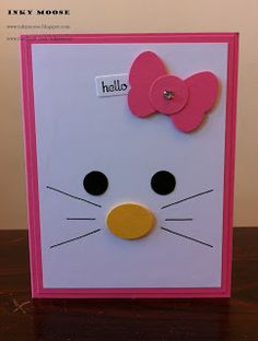 handmade card  from Inky Moose blog ... luv the spare graphic elements used to create  a cat face on this card!!