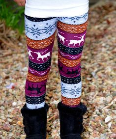 Purple Deer Leggings - Toddler & Girls #zulily #zulilyfinds