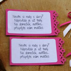 "FUCHSIOVÁ SADA = 2 ks kartičky \""dary\"" Event Ticket, Wedding Ideas, Wedding Ceremony Ideas"