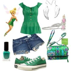 Disney Bound Tinkerbell by britney-moran on Polyvore featuring Dorothy Perkins, Siwy, Converse, Vera Bradley, Pixie, NYX and RoomMates Decor