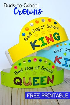 Use these printable back-to-school crowns and the Best Day List from Seattle's Best Coffee to have the best first day of school. Fun back-to-school activities for kids. back to school updos, back to school images, back to school routines Preschool First Day, First Day Of School Activities, Creative Activities For Kids, First Day School, School Fun, School Ideas, Back To School Images, Back To School Art, Back To School Crafts For Kids