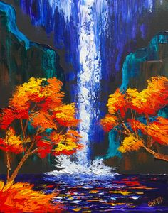 Easy Pallet Knife of a Waterfall landscape with Fall trees in acrylic on canvas. Fully guided step by step in Real time with The Art Sherpa Autumn trees and Waterfall pallet knife for beginners