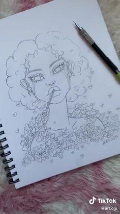 Easy Doodles Drawings, Sketchbook Drawings, Art Drawings For Kids, Art Drawings Sketches Simple, Pencil Art Drawings, Tumblr Sketches, Doodle Art Journals, Girl Sketch, Girl Drawing Easy