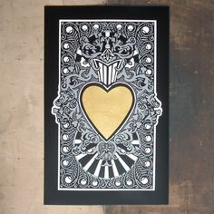 Heart of Gold by Static available @ images in frames gallery in Wanstead. Three colour screenprint with 24ct gold leaf edition of 45 £215 price includes frame www.imagesinframes.com