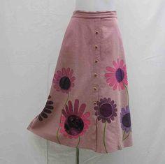 Plus size Skirt, Hand painted skirt, AU 18 uk 16 US 14 skirt, pink purple skirt, upcycled skirt, art to wear skirt, wearable art skirt, OOAK by Rethreading on Etsy