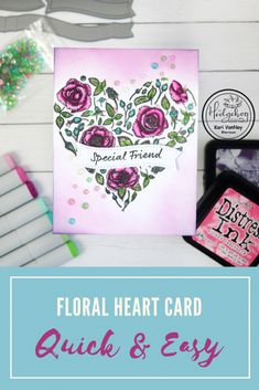 Floral Heart with Gemstones using the Hedgehog Hollow February 2020 Kit, Easy ink blending, Quick card Quick Cards, Heart Cards, Pretty Cards, Copic Markers, Distress Ink, I Fall In Love, Fun Projects, I Card, Hedgehog