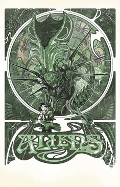 Love this art nouveau take on a movie poster for Aliens.