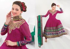 $110.84 Pink Thread and Stone Work Faux Georgette Anarkali Salwar Suit 22690