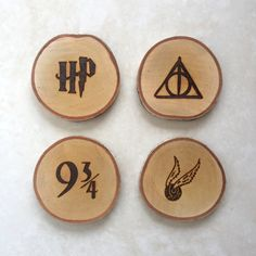Harry Potter wood slice coasters. Handmade, rustic, and perfect for Harry Potter fans!