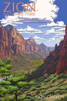 Zion National Park - Zion Canyon View - Lantern Press Poster