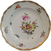 Antique ~ Meissen Porcelain Plate ~ Rococo Design ~ Crossed Swords