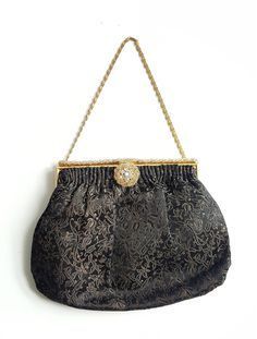 Elegant 1950's French evening bag. Black and Gold satin embroiderywith diamante clasp and frame. Made in France by StessiBoutique on Etsy