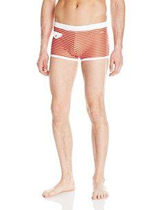 6dc45407aa parke & ronen Men's Ibiza Print Square Cut Brief with Pocket, Claude Stripe  Red, Small. Men's Swimwear