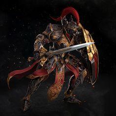 Warrior character artwork from Astellia - Armaduras - Game's Fantasy Armor, Dark Fantasy Art, Medieval Fantasy, Fantasy Art Warrior, Fantasy Character Design, Character Concept, Character Art, Warrior Concept Art, Armor Concept