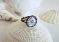 Framed glass ring in silver and copper  by pinkdiamonddesign