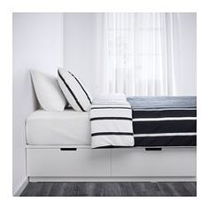 Buy IKEA NORDLI Bed frame with storage white. NORDLI bed frame is more than a comfortable bed. It's also a storage unit with 6 spacious drawers. Bed Frame With Storage, Bed Storage, Bedroom Storage, Storage Spaces, Extra Storage, Cama Ikea, Nordli Ikea, Double King Size Bed, Camas King