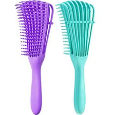 2 Pieces Detangling Brush for Afro America/ African Hair Textured 3a to 4c Kinky Wavy/ Curly/ Coily/ Wet/ Dry/ Oil/ T... Curly Hair Styles, Natural Hair Styles, Matted Hair, Detangling Brush, African American Hairstyles, Green Cleaning, Wet And Dry, Hair Oil, Textured Hair