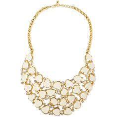Kenneth Jay Lane Gold-Plated Bib Necklace W/Crystals ($226) ❤ liked on Polyvore featuring jewelry, necklaces, kenneth jay lane, gold plated jewelry, gold plated jewellery, gold plated necklace and bib jewelry
