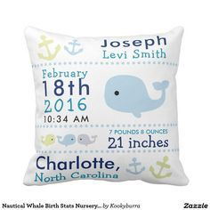 Shop Birth Stats Nautical Whale Nursery Throw Pillow created by Kookyburra. Whale Nursery, Nautical Nursery, Nautical Baby, Nautical Pillows, Coastal Nursery, Nautical Design, Anchor Nursery, Nautical Banner, Sea Nursery