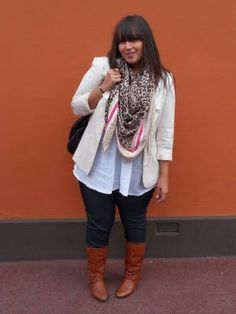 Plus Size Fashion for Women - Plus Size Outfit Idea - Scarf, jacket and boots