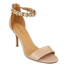 Nine West's Goshdarn open toe sandals feature a gleaming ankle strap chain detail and back-zip for easy on/off. Bridesmaid Shoes, Open Toe Sandals, Affordable Fashion, Low Heels, Nine West, Ankle Strap, Fashion Shoes, Personal Style, My Style
