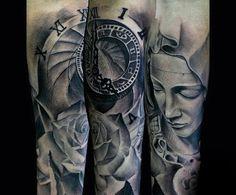 Clock With Rose And Virgin Mary Guys Shaded Forearm Tattoos