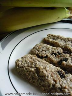 BLW banana-oat bars  1/2 mashed ripe banana   3 to 4 Tbl ground oats   Combine to form a dough.  Form fingers on a greased cookie sheet.  Bake 10 minutes at 350