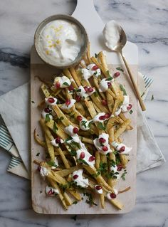 Spiced Parsnip Fries with Roasted Garlic Yogurt