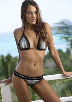 2016 PilyQ Swimwear Stardust Crochet Triangle and Teeny Bottom Bikini