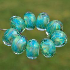 Cabo Splash  Set of 9 Encased Lampwork Beads  Dan O by koregon, $22.00
