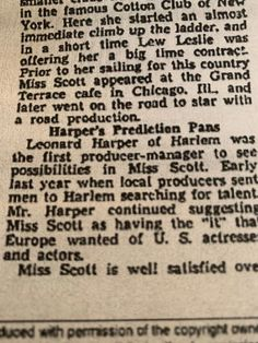 From: Sharon Scott Brooking. Noticed that your grandfather was responsible for Mabel's European success. Part of an article in the Chicago Defender Aug 8, 1936. Grand Terrace, Book Title, No Response, Chicago, Success, Books, Libros, Book, Book Illustrations