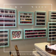 Picture Frames converted to a Nail Polish Display Rack for T  C Nails Salon located in Lynnhaven Mall in Virginia Beach  http://www.amberdominiquedesigns.com/interiors.html
