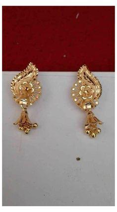 Gold Jhumka Earrings, Gold Bridal Earrings, Jewelry Design Earrings, Gold Earrings Designs, Jhumka Designs, Necklace Designs, Gold Necklace, Gold Ring Designs, Gold Bangles Design