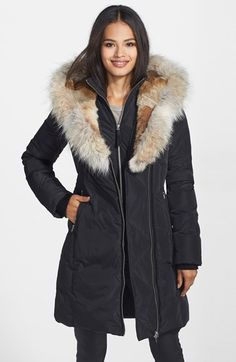 Free shipping and returns on Mackage 'Trish' Down Coat with Genuine Rabbit & Coyote Fur at Nordstrom.com. Doubling as a sumptuous shawl collar, a split-back hood is lined with rabbit fur and trimmed with coyote fur for a cold-weather coat insulated with premium down. A zippered front insert adds another layer of cozy warmth, while an attached half-belt and leather trim refine the look.
