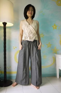 Ooh, comfy! Reminds me of samurai pants. Eco-Friendly Smoke Grey Linen by beyondclothing on Etsy, $58.00