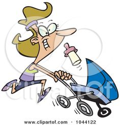 Royalty-Free (RF) Clip Art Illustration of a Cartoon Mother Running With A Pram by Ron Leishman #1044122