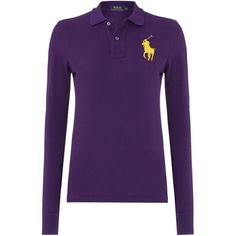 Polo Ralph Lauren Long sleeve mesh polo ($185) ❤ liked on Polyvore