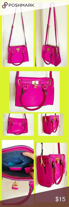 Hot Pink Mini lock box In pristine condition, very feminine and cute.  Widht: 9.5 Height: 7.0 Depth: 4.0 Has one pocket inside. Charming Charlie Bags Crossbody Bags