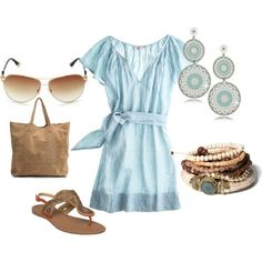Cute baby blue dress for summer. Earrings are sweet too!