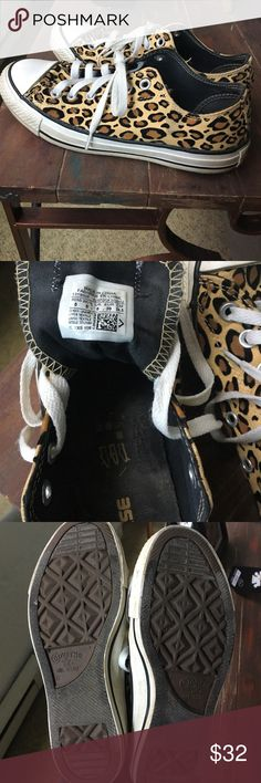 Leopard converse Cute leopard converse women's sneakers..worn a few times but still in GREAT condition..the insides are as good as new. They just need a scrub on the bottoms as shown in the last picture. Make me an offer 😀 Converse Shoes Sneakers