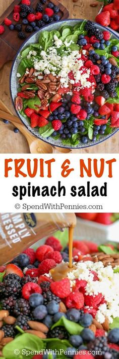 This Fruit & Nut Spinach Salad recipe is the perfect combination of fresh summer berries, feta cheese and toasted nuts. | Posted By: DebbieNet.com