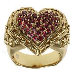"""Dallas Prince Gold over Silver Orange Sapphire """"Heart"""" Ring"""