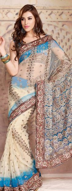 $66.36 Brown Net Saree 20817 With Unstitched Blouse