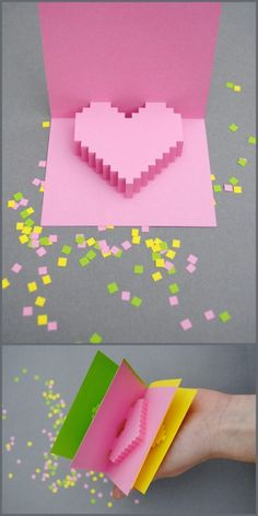 DIY Pixel-y Popup Card. Template and instructions on minieco.co.uk. Hopefully more successful than the origami flying heart.