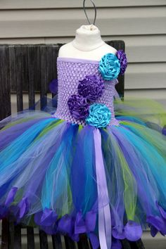 FLOWER GIRL Tutu Dress with rose petals by AllDressedUpCouture, $55.00